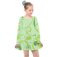 Floral Decoration Flowers Green Kids  Long Sleeve Dress by Jojostore