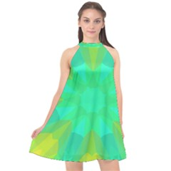 Kaleidoscope Background Halter Neckline Chiffon Dress  by Mariart