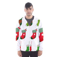Christmas Stocking Candle Hooded Windbreaker (men) by Mariart