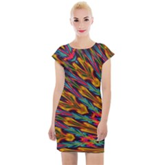 Background Abstract Texture Cap Sleeve Bodycon Dress