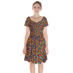 Background Abstract Texture Short Sleeve Bardot Dress