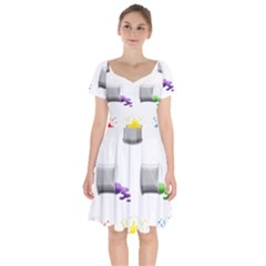 Paint Cans Short Sleeve Bardot Dress