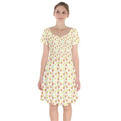 Pattern Fruits Orange Lemon Banana Short Sleeve Bardot Dress by Jojostore