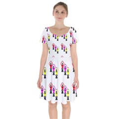 Ballet Plie Dance Ballerina Short Sleeve Bardot Dress