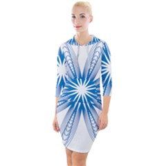 Spirograph Blue Circle Geometric Quarter Sleeve Hood Bodycon Dress by Jojostore