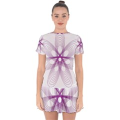 Spirograph Purple Circle Geometric Drop Hem Mini Chiffon Dress