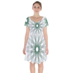 Spirograph Green Circle Geometric Short Sleeve Bardot Dress by Jojostore