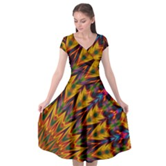 Background Abstract Texture Chevron Cap Sleeve Wrap Front Dress