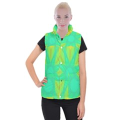 Kaleidoscope Background Green Women s Button Up Vest by Mariart