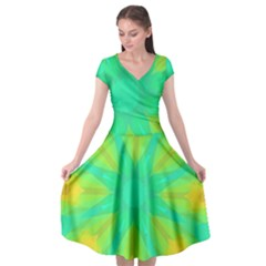Kaleidoscope Background Green Cap Sleeve Wrap Front Dress by Mariart