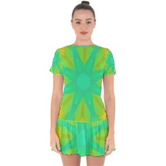 Kaleidoscope Background Green Drop Hem Mini Chiffon Dress by Mariart