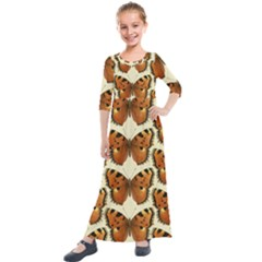Butterflies Insects Kids  Quarter Sleeve Maxi Dress by Mariart