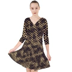 Honeycomb Beehive Nature Quarter Sleeve Front Wrap Dress