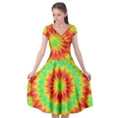 Kaleidoscope Background Mandala Red Green Cap Sleeve Wrap Front Dress by Mariart