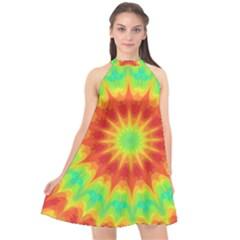 Kaleidoscope Background Mandala Red Green Halter Neckline Chiffon Dress