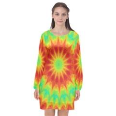 Kaleidoscope Background Mandala Red Green Long Sleeve Chiffon Shift Dress