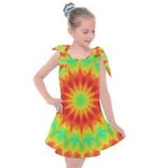 Kaleidoscope Background Mandala Red Green Kids  Tie Up Tunic Dress by Mariart