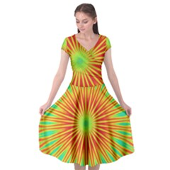 Kaleidoscope Background Mandala Red,green Sun Cap Sleeve Wrap Front Dress