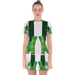 Saint Patrick S Day March Drop Hem Mini Chiffon Dress