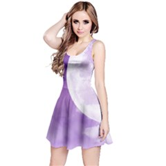 Purple Sky Star Moon Clouds Reversible Sleeveless Dress by Mariart