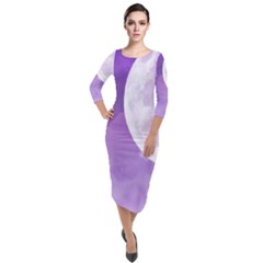 Purple Sky Star Moon Clouds Quarter Sleeve Midi Velour Bodycon Dress by Mariart