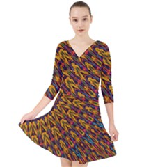 Background Abstract Texture Rainbow Quarter Sleeve Front Wrap Dress by AnjaniArt