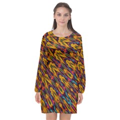Background Abstract Texture Rainbow Long Sleeve Chiffon Shift Dress  by AnjaniArt