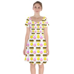 Donuts Fry Cake Short Sleeve Bardot Dress