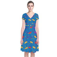Fish Background Pattern Texture Rainbow Short Sleeve Front Wrap Dress by AnjaniArt