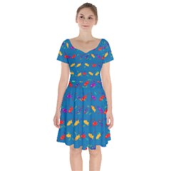 Fish Background Pattern Texture Rainbow Short Sleeve Bardot Dress by AnjaniArt