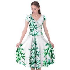 Christmas Pine Trees Snow Xmas Cap Sleeve Wrap Front Dress by AnjaniArt