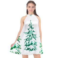 Christmas Pine Trees Snow Xmas Halter Neckline Chiffon Dress  by AnjaniArt