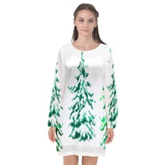 Christmas Pine Trees Snow Xmas Long Sleeve Chiffon Shift Dress