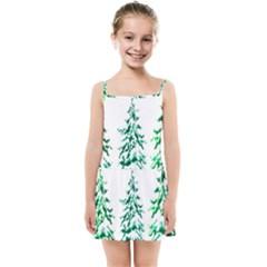 Christmas Pine Trees Snow Xmas Kids  Summer Sun Dress by AnjaniArt