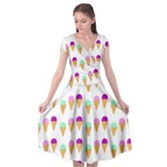 Icecream Background Dessert Summer Cap Sleeve Wrap Front Dress