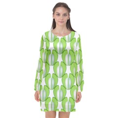 Herb Ongoing Pattern Plant Nature Long Sleeve Chiffon Shift Dress