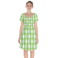 Herb Ongoing Pattern Plant Nature Short Sleeve Bardot Dress