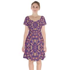 Kaleidoscope Background Design Short Sleeve Bardot Dress