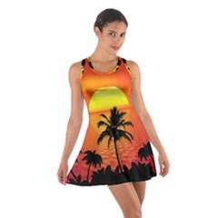 Tropical Summer Sunset Beach Cotton Racerback Dress
