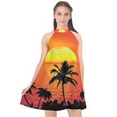 Tropical Summer Sunset Beach Halter Neckline Chiffon Dress  by AnjaniArt