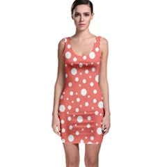 Polka Dot On Living Coral Bodycon Dress by LoolyElzayat