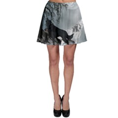 Awesome Black And White Wolf In The Dark Night Skater Skirt by FantasyWorld7