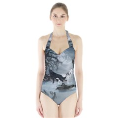 Awesome Black And White Wolf In The Dark Night Halter Swimsuit by FantasyWorld7