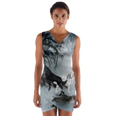 Awesome Black And White Wolf In The Dark Night Wrap Front Bodycon Dress by FantasyWorld7