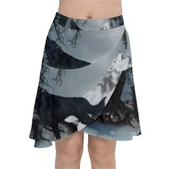 Awesome Black And White Wolf In The Dark Night Chiffon Wrap Front Skirt by FantasyWorld7