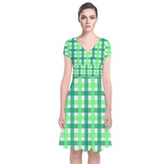 Sweet Pea Green Gingham Short Sleeve Front Wrap Dress by WensdaiAmbrose
