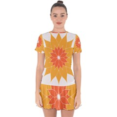 Sunflower Flower Orange Abstract Drop Hem Mini Chiffon Dress