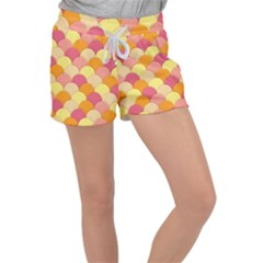 Scallop Fish Scales Scalloped Rainbow Women s Velour Lounge Shorts by AnjaniArt