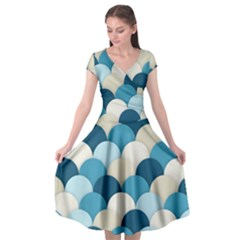 Scallops Background Wallpaper Blue Cap Sleeve Wrap Front Dress