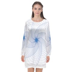Spirograph Pattern Geometric Long Sleeve Chiffon Shift Dress